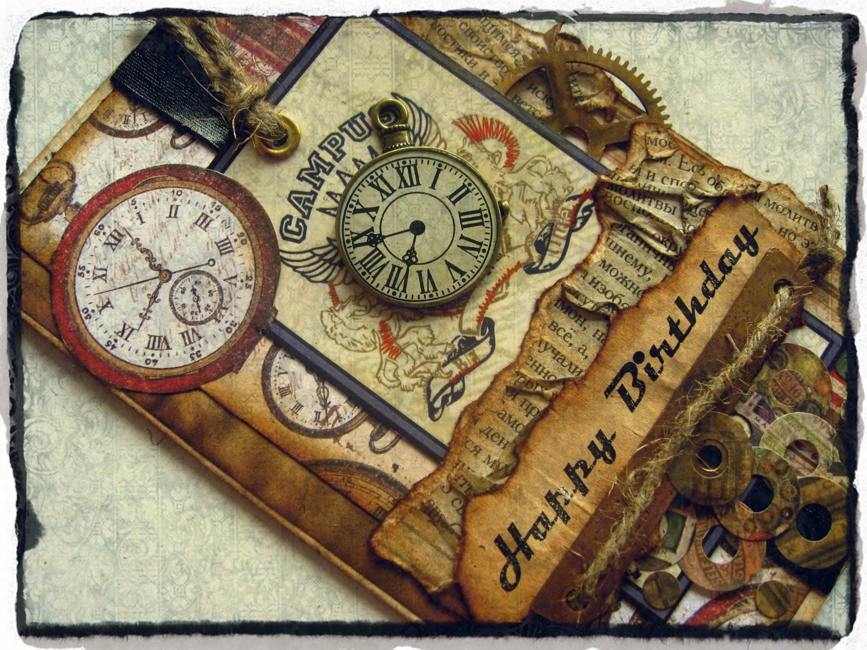 Как сделать открытку часы