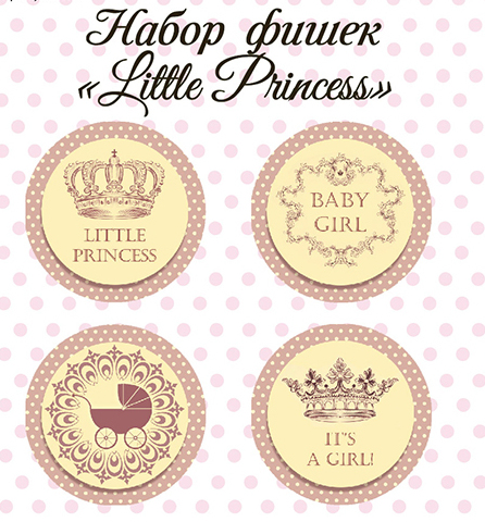 "Набор фишек ""Little Princess"" (Mona design), 4 шт"