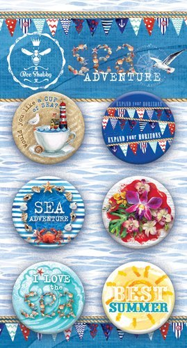 "Набор фишек ""SEA adventure"" (Bee Shabby), 6 шт, диаметр 2,5 см"