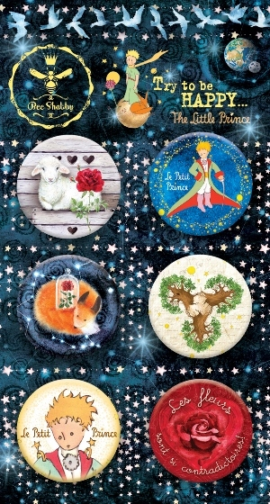 "Набор фишек ""The Little Prince"" (Bee Shabby), 6 шт, диаметр 2,5 см"