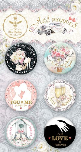 "Набор фишек ""Just Married"" (Bee Shabby), 6 шт, диаметр 2,5 см"