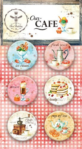 "Набор фишек ""Our CAFE"" (Bee Shabby), 6 шт, диаметр 2,5 см"
